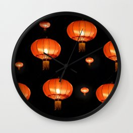 Orange chinese lampions with black background Wall Clock