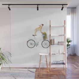 French Bulldog on Bicycle Wall Mural