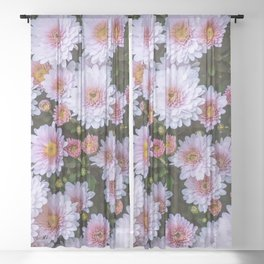 Passing By White Sunflowers Sheer Curtain