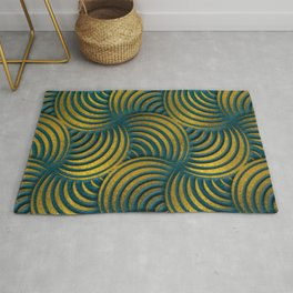 Teal Leather and Gold Circulate Wave Pattern Rug