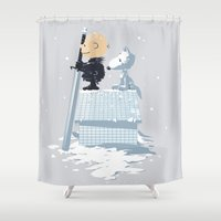 peanuts Shower Curtains featuring WINTER PEANUTS by Adams Pinto