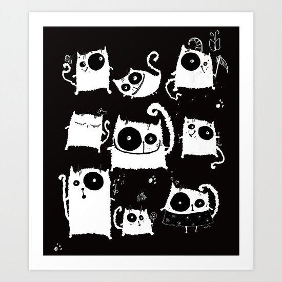 cats on black Art Print