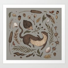 Weasel and Hedgehog Art Print