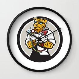 Leopard Heating Specialist Mechanic Circle Cartoon Wall Clock