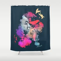 hitchcock Shower Curtains featuring Hitchcock by Pepe Psyche