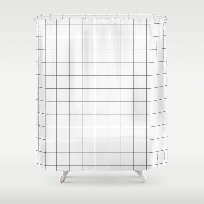 Thick Windowpane Grid Shower Curtain