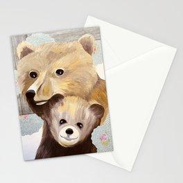 Mama Bear and Cub Mixed Media Painting Stationery Cards