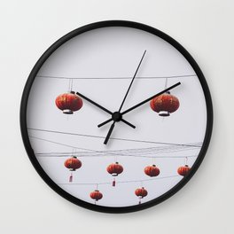 Red lampions patteren Wall Clock