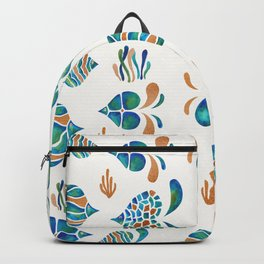 Cute abstract fish with metallic copper accents Backpack