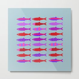 Colorful fish school pattern Metal Print
