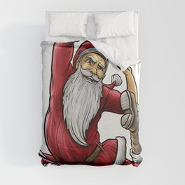 Yogi Santa Claus   Namaste Yoga Christmas Mantra Duvet Cover