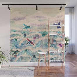Flying fish in abstract sea Wall Mural