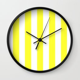 Electric yellow - solid color - white vertical lines pattern Wall Clock