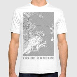 Rio de Janerio Map Line T-shirt