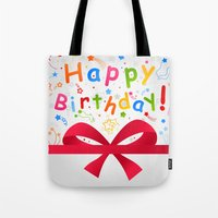 birthday Tote Bags featuring Birthday by aleksander1