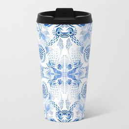 Blue on white pattern Travel Mug