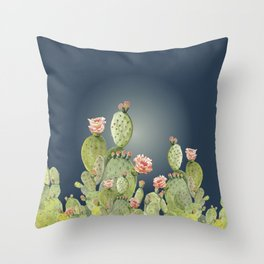 In The Moonlight - Cactus Throw Pillow