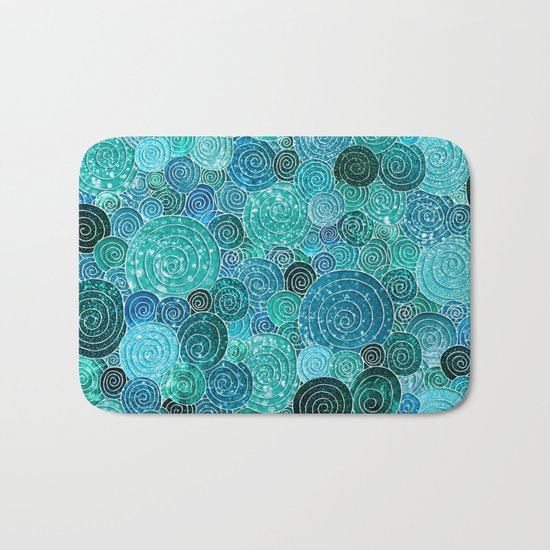 Abstract blue& green glamour glitter circles and dots for Girls and ladies Bath Mat