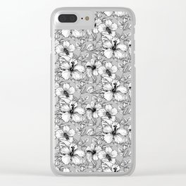 Hand Drawn Hibiscus Flowers Clear iPhone Case