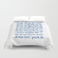 calligraphy Duvet Covers featuring Calligraphy Gothic by Cami Landia