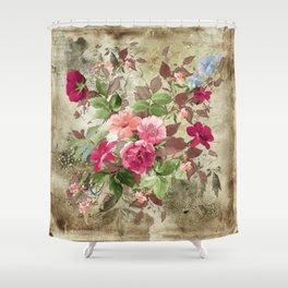 Roses on Vintage Background Shower Curtain