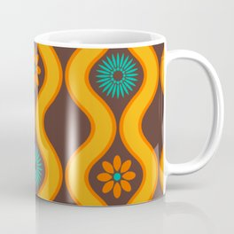 1970's Design Brown Orange Blue Coffee Mug