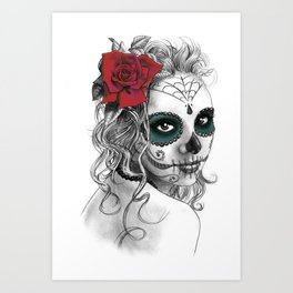 Catrina with red rose Art Print