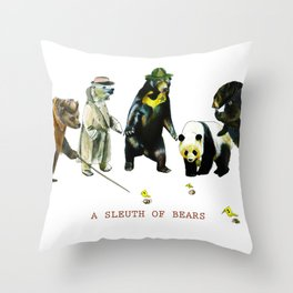 A Sleuth of Bears Throw Pillow