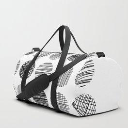 Abstract Lines Circles in Black and White Duffle Bag