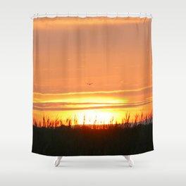 Bird at Sunset Shower Curtain