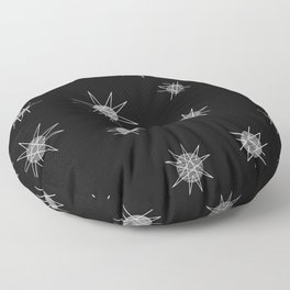 Atomic Age Starburst Planets Black Floor Pillow