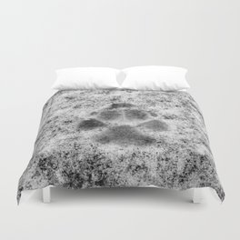 Paw Print in Snow Duvet Cover