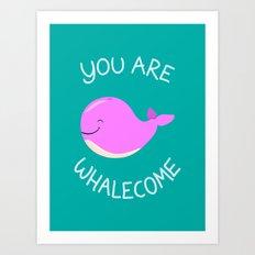 Whale, thank you! -Pink Version Art Print