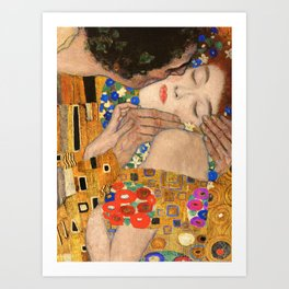 Gustav Klimt The Kiss, 1907 detail Art Print