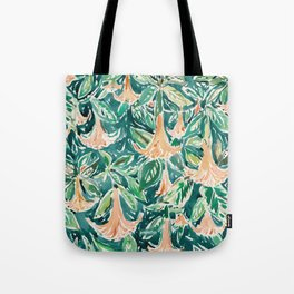 DATURA DREAMS Watercolor Floral Tote Bag