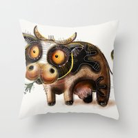cow Throw Pillows featuring Cow by Riccardo Pertici