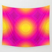 70s Wall Tapestries featuring Flashy 70s,pink by MehrFarbeimLeben