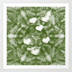 Fading hearts on forest green Art Print