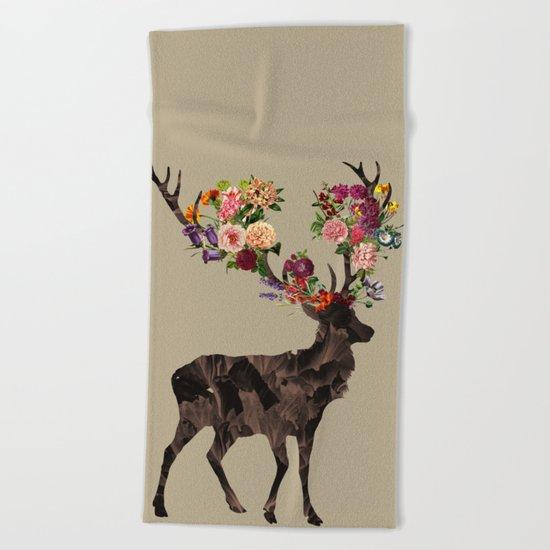 Spring Itself Deer Flower Floral Tshirt Floral Print Gift Beach Towel