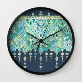 Art Deco Double Drop in Blues and Greens Wall Clock
