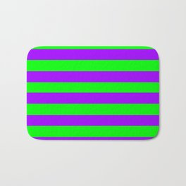 Green and Purple Stripes Bath Mat