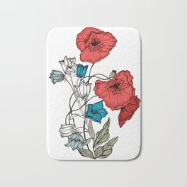 Poppies and Bells Bath Mat