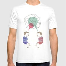 Twins MEDIUM Mens Fitted Tee White