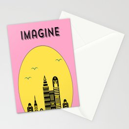The Imaginary City (pink) Stationery Cards