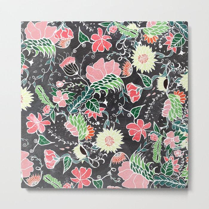 Pastel preppy hand drawn garden flowers chalkboard Metal Print