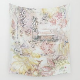 Log Cabin in the Woods Wall Tapestry