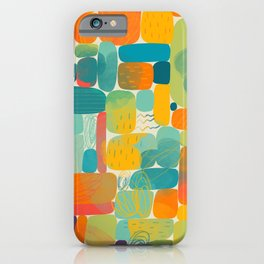 Funny color block abstract shape painting illustration pattern iPhone Case