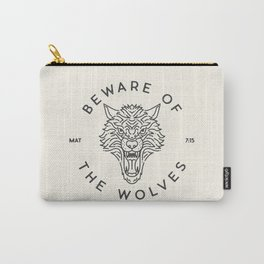 Beware of the Wolves (black) Carry-All Pouch