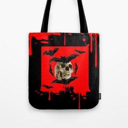 BAT INFESTED HAUNTED SKULL ON BLEEDING HALLOWEEN ART Tote Bag