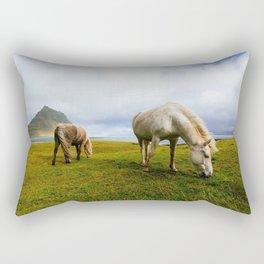 Grazing Horses Rectangular Pillow